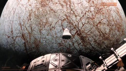 Europa 1's landing craft descends for its landing on Jupiter's moon.