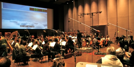Ryan Shore conducting his score for the poignant 2009 animated short, ARTICLES OF WAR, at Skywalker Ranch.