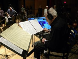 Gerry's podium set up during the recording session.