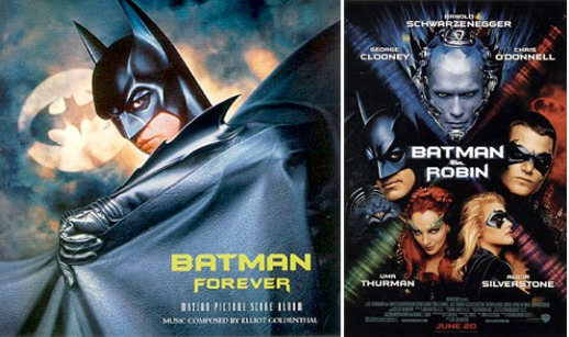 BATMAN FOREVER soundtrack, Atlantic Records, 1995; BATMAN & ROBIN poster, 1997.