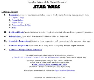 Star Wars Catalog of Musical Leimotifs Feb 2019